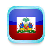 Smart phone button with Haiti flag — Stock Vector