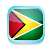 Smart phone button with Guyana flag — Stock Vector