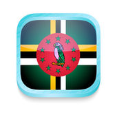 Smart phone button with Dominica flag — Stock Vector