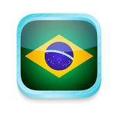 Smart phone button with Brazil flag — Stock Vector
