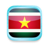 Smart phone button with Suriname flag — Stock Vector