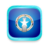 Smart phone button with Northen Mariana Islands flag — Cтоковый вектор