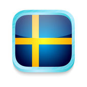Smart phone button with Sweden flag — Stock Vector