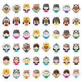 Animal hat avatars — Stock Vector
