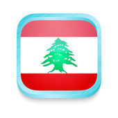 Smart phone button with Lebanon flag — Stock Vector