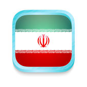 Smart phone button with Iran flag — Stock Vector