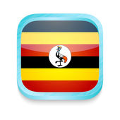 Smart phone button with Uganda flag — Stock Vector