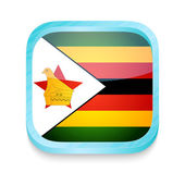 Smart phone button with Zimbabwe flag — Stock Vector