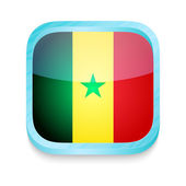 Smart phone button with Senegal flag — Stock Vector