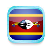 Smart phone button with Swaziland flag — Stock Vector