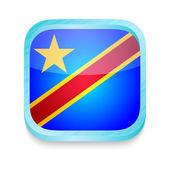 Smart phone button with Democratic Republic of Congo flag — Stock Vector