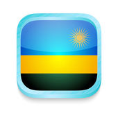 Smart phone button with Rwanda flag — Stock Vector