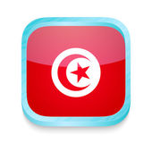 Smart phone button with Tunisia flag — Stock Vector