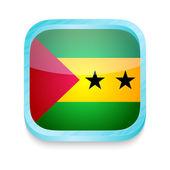 Smart phone button with Sao Tome & Principe flag — Stock Vector