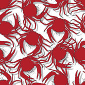 Seamless pattern background with red crabs — Stock Vector