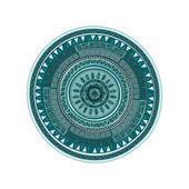 Round ornament mandala pattern over white — Stockvektor
