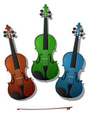 Colored violins — Stock Vector