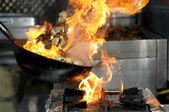 Azul, queimando, perto, componente, culinária, perigo, — Foto Stock