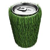 Pitná voda v plechovce s trávou — Stock fotografie