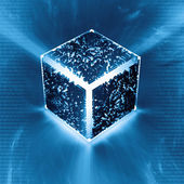 Electronic circuit cube or QR code — Stock Photo
