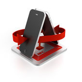 Near field communication (NFC) with smartphone — Stock Photo
