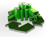 Accumulator battery with recycle sign — Stock Photo