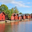 Porvoo, Finland. Old wooden houses — Stock Photo