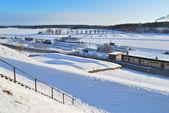Finland. Lappeenranta harbor in winter — Stock Photo