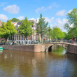 Amsterdam.  Canal  Regulirsgraht - Stock Photo
