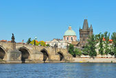 Prague. A view of the Charles Bridge and the Old Town — Stock Photo