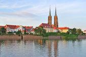 Wroclaw. Island Tumski at sunset — Stock Photo