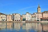Zurich. Limmat river embankment — Stock Photo