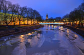 Purple twilight in Turku, Finland — Stock Photo