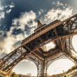 Upward fisheye view of Eiffel Tower in Paris — Stock Photo