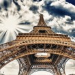 Upward Fisheye view of Eiffel Tower in Paris on a sunny winter m — Stock Photo