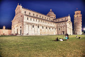 View of Miracles Square - Piazza dei Miracoli in Pisa at Night — Stock Photo