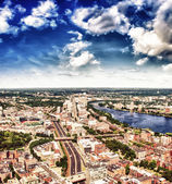 Boston Aerial view with cloudy sky, Massachusetts — Stok fotoğraf