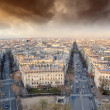 Stock Photo: Sunset over Paris, view from Triumph Arc Terrace
