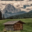 Stock Photo: Characteristic mountains farmhouse called Baita, Dolomites