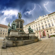 Kaiser Franz I statue in Hofburg - Vienna, Fisheye view — Stock Photo #12653574