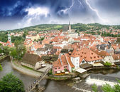Storm above Cesky Krumlov medieval town in Czech Republic — Stock Photo