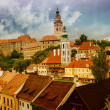 The roofs of Cesky Krumlov, Czech republic - Stock Photo