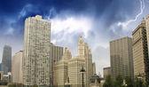 Chicago manzarası ile gökdelenler — Stok fotoğraf
