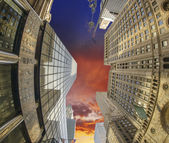 Upward view of Manhattan Skyscrapers at Sunset — Stock Photo