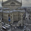 Aerial view of Paris in winter season - Stock Photo