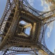 Unusual wide angle view inside the center of the Eiffel tower in - Foto Stock