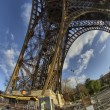 Unusual wide angle view inside the center of the Eiffel tower in — Stock Photo
