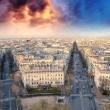 Sunset over Paris, view from Triumph Arc Terrace — Stock Photo #13472748