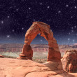 Delicate Arch in Arches National Park - Utah, USA - Stock Photo