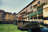 View of Florence in Old Bridge Area, Ponte Vecchio — Stock Photo
